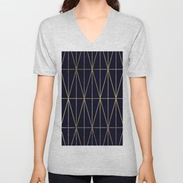 Modern gold geometric triangles pattern navy blue watercolor Unisex V-Neck