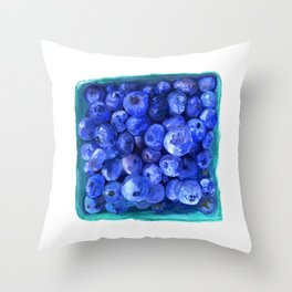 Watercolor Blueberries by Artume Throw Pillow
