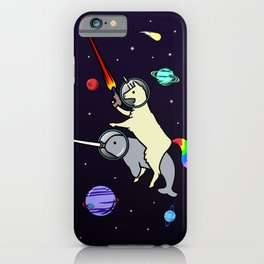 Llamacorn Riding Narwhal In Space iPhone Case