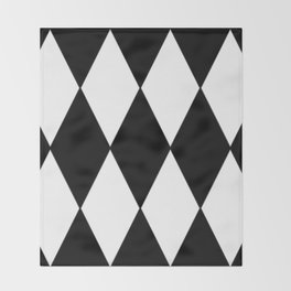 LARGE BLACK AND WHITE HARLEQUIN DIAMOND PATTERN Throw Blanket