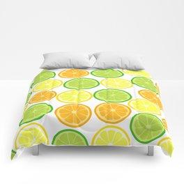 Citrus Slices on White Comforters