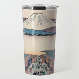 Mount Fuji above Ancient Street Ukiyo-e Japanese Art Travel Mug