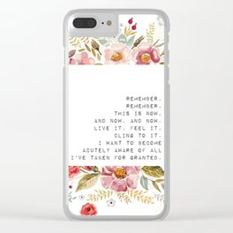 Remember, this is now - S. Plath Collection Clear iPhone Case