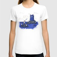 hallion T-shirts featuring The Seagulls have the Phonebox by Karen Hallion Illustrations
