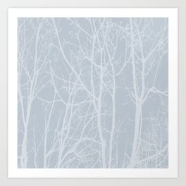 Tree silhouettes on bluestone Art Print