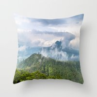 indonesia Throw Pillows featuring Mt Batur - Bali, Indonesia by Jennifer Stinson