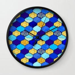 moroccan tiles in blue, aqua and gold Wall Clock