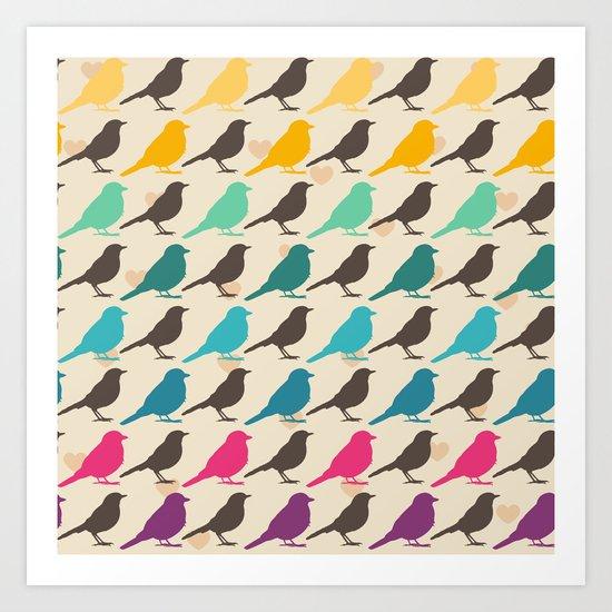 Colorful birds pattern Art Print