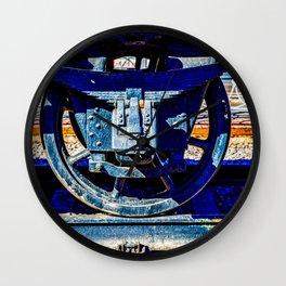 Black Wheel Of A Vintage Steam Train Carriage Wall Clock