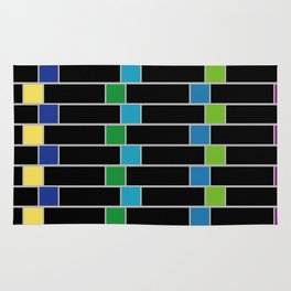 Colorful squares composition on black- multicolor gifts Rug