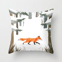 Fox In A Late Winter Snowfall Throw Pillow