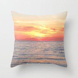 Watercolor Sunset, Cape Breton 07, Nova Scotia, Canada Throw Pillow