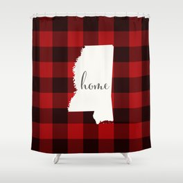 Mississippi is Home - Buffalo Check Plaid Shower Curtain