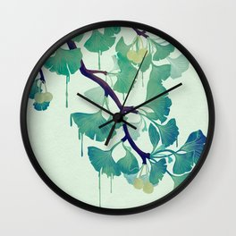 O Ginkgo (in Green) Wall Clock