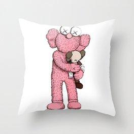 Kaws Pink Throw Pillow
