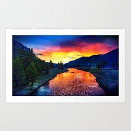 Sunset at Yellowstone Art Print