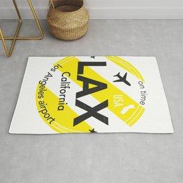 LAX Los Angeles round sticker yellow Rug