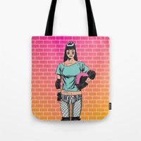 roller derby Tote Bags featuring Roller Derby Girl by Paul Brunet