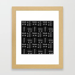 Black White Mud Cloth Pattern Framed Art Print