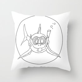 shark with snorkle Throw Pillow