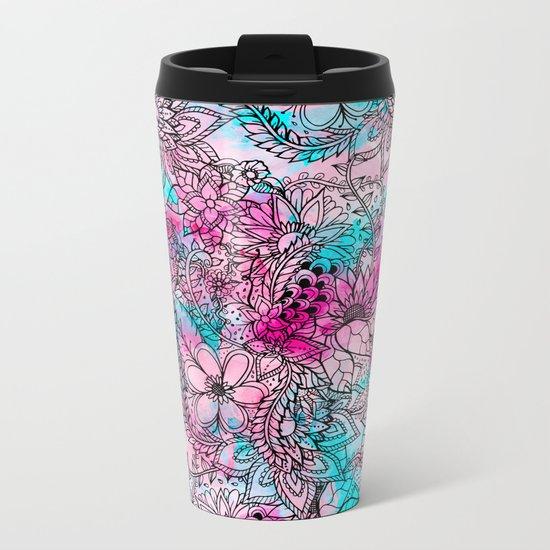 Modern pink turquoise floral watercolor handdrawn pattern Metal Travel Mug