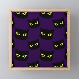 Black and purple cat Halloween pattern Framed Mini Art Print