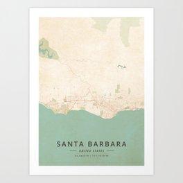 Santa Barbara, United States - Vintage Map Art Print