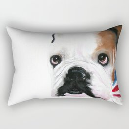 Nosey British Bulldog ' REGGIE ' by Shirley MacArthut Rectangular Pillow