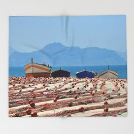 Sicily (boats with fishing nets) Throw Blanket