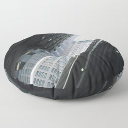 New York City: Angles in Black and White Floor Pillow