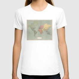 Vintage Map of The World (1889) T-shirt