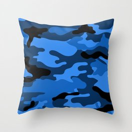 Blue Camouflage Throw Pillow