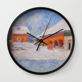 Claude Monet - Norway, Red Houses at Bjornegaard Wall Clock