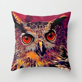 owl strix bird v2 vector art late sunset Throw Pillow