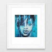 rihanna Framed Art Prints featuring Rihanna by Nechifor Ionut