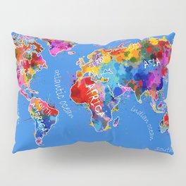 world map color splatter blue Pillow Sham