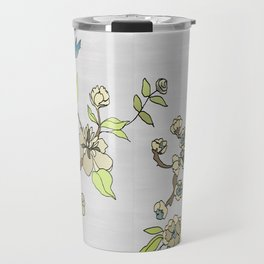 Chinoiserie Panels 3-4 Silver Gray Raw Silk - Casart Scenoiserie Collection Travel Mug