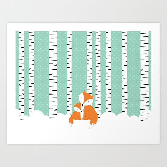 Foxes in winter forest. Art Print