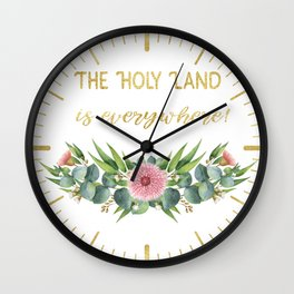 Gorgeous Eucalyptus Flowers Leaves Pattern Wall Clock
