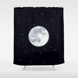 Watercolor Full Moon Shower Curtain