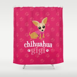 Chihuahua Gigi Great Grandma Cute Dog Lover Pink Shower Curtain