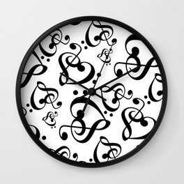 Black And White Clef Hearts Wall Clock