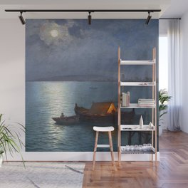 Coastal Marine Seascape Moonlit Boat and Lighthouse landscape painting by Guillermo Gomez Gil Wall Mural