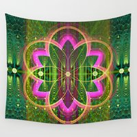flower of life Wall Tapestries featuring Fractal Flower of Life by thea walstra