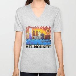 8 Bit Milwaukee Unisex V-Neck