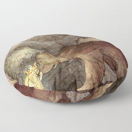 John Bauer Kissed the Bear On The Nose 1907 Reproduction Young Princess Bear Fairy Tale Floor Pillow