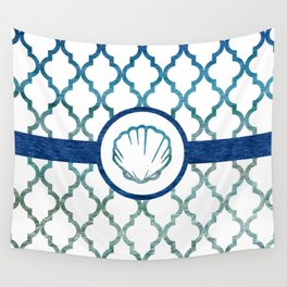Clam Shell: Tropical Water Moroccan Pattern Wall Tapestry
