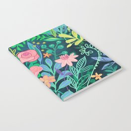 Roses + Green Messy Floral Posie Notebook
