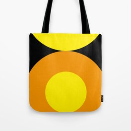 Two suns, one yellow with orange rays,the other orange with yellow rays,both floating in a black sky Tote Bag