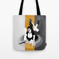 mia wallace Tote Bags featuring Miss Wallace by Arian Noveir